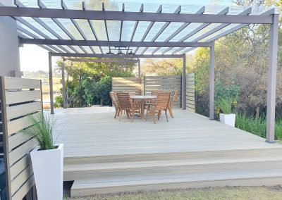 Swiss Oak Decking Board with Rusteak Alcotruss Pergola